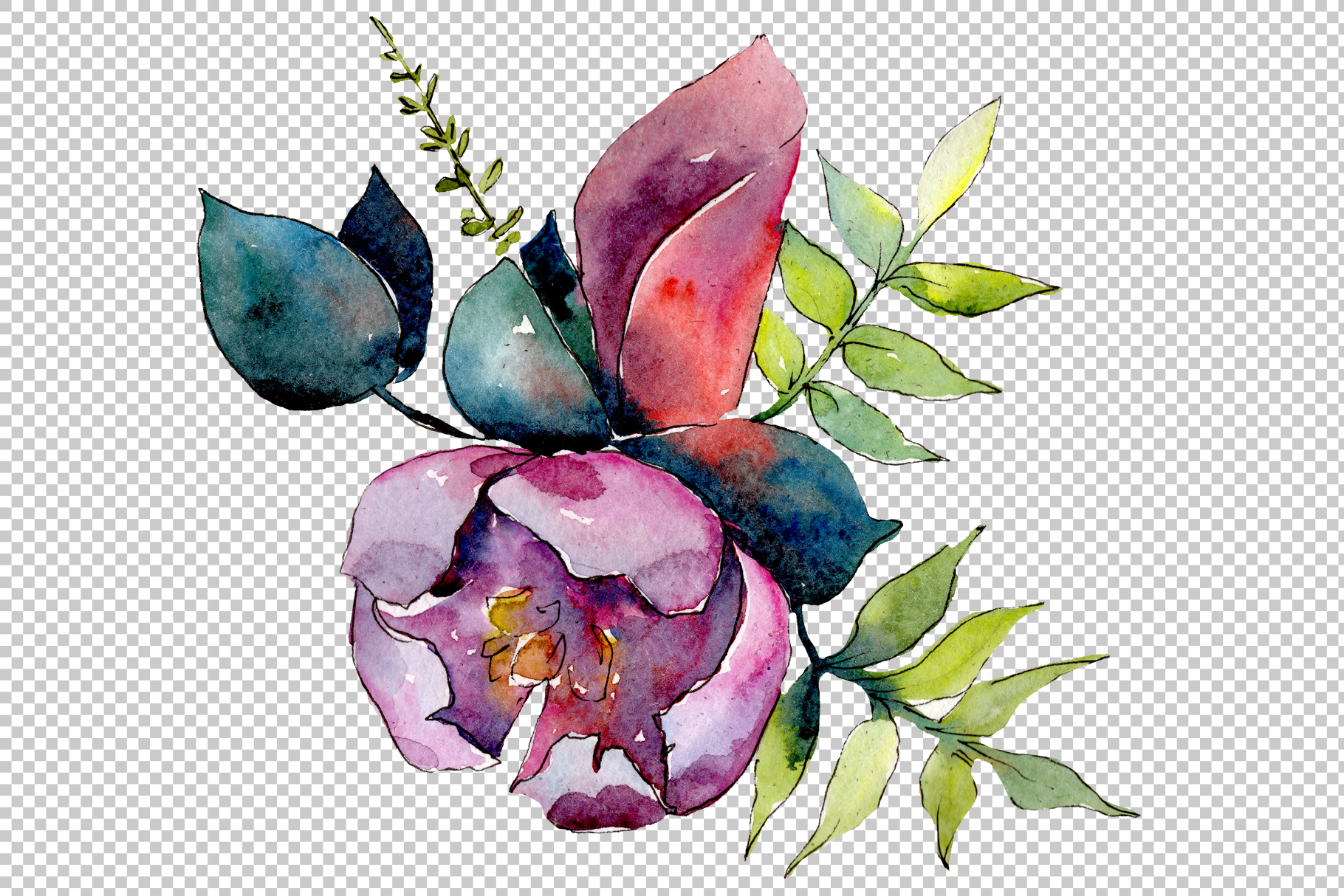 Bouquet of tropical flowers PNG watercolor example image 3