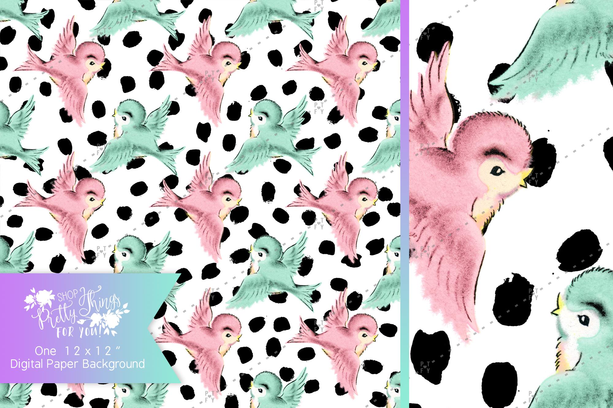 Sweet Vintage Birdies Digital Paper/Background example image 1