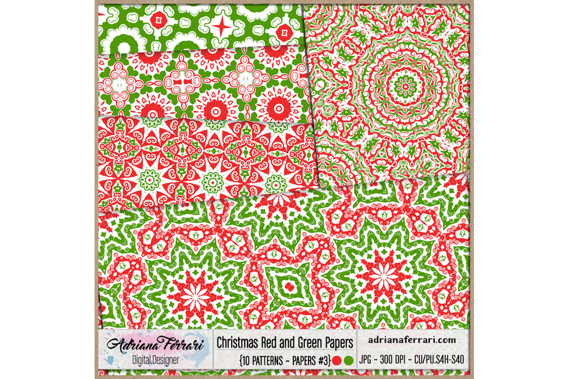 Christmas Red and Green Papers 3 example image 2