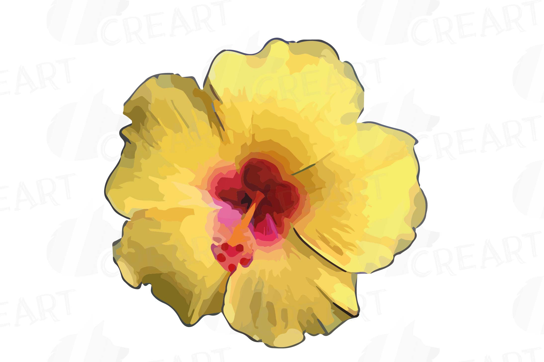 Watercolor yellow flowers and green leaves clip art pack example image 7