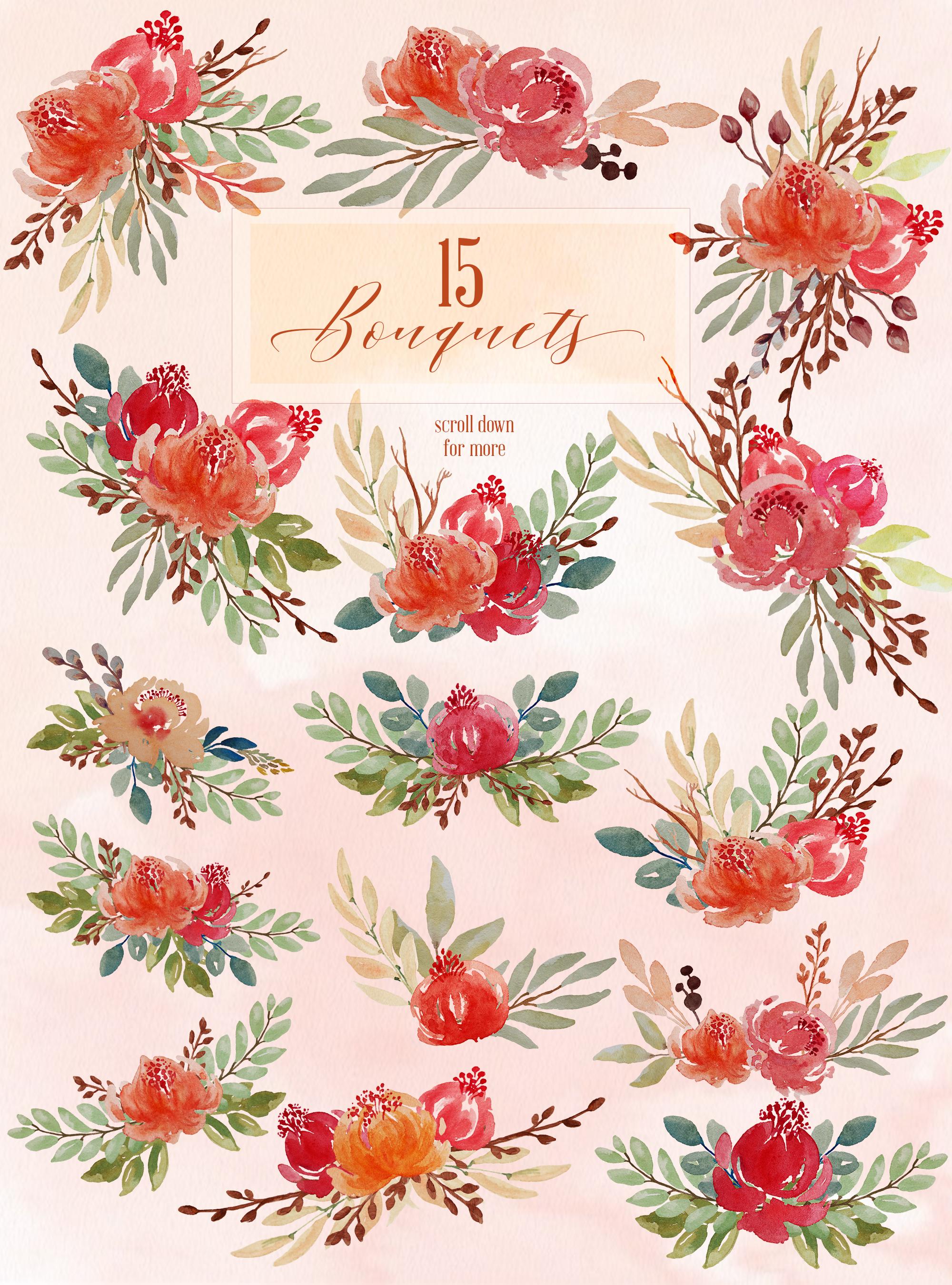 Juliet Floral Watercolor Clip Art Set example image 3