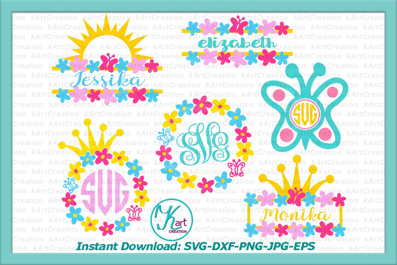 Princess Toddler Monograms bundle SVG DXF cutting files example image 1
