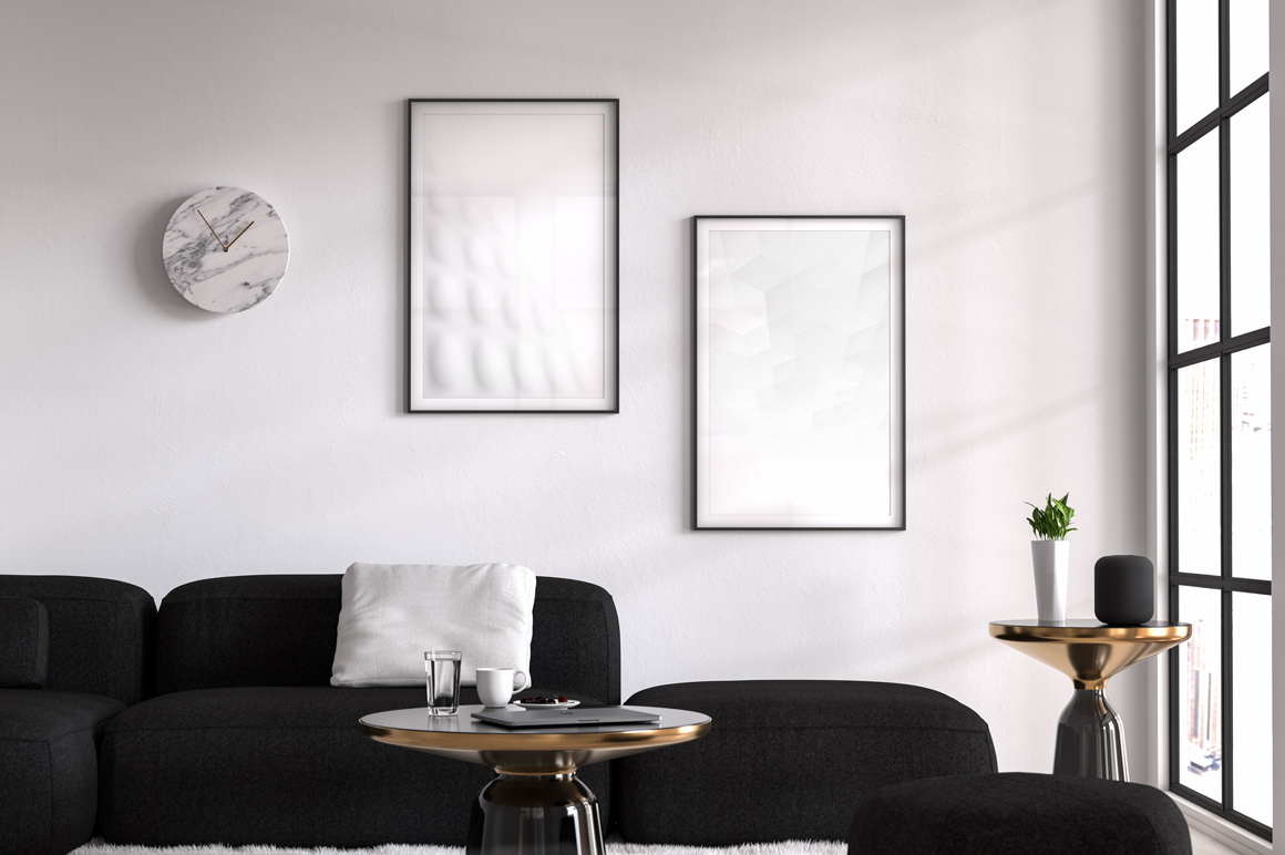 White abstract futuristic posters example image 2