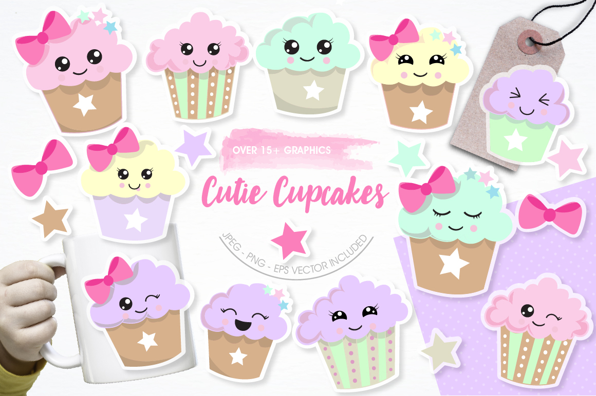Cutie Cupcakes graphics and illustrations example image 1