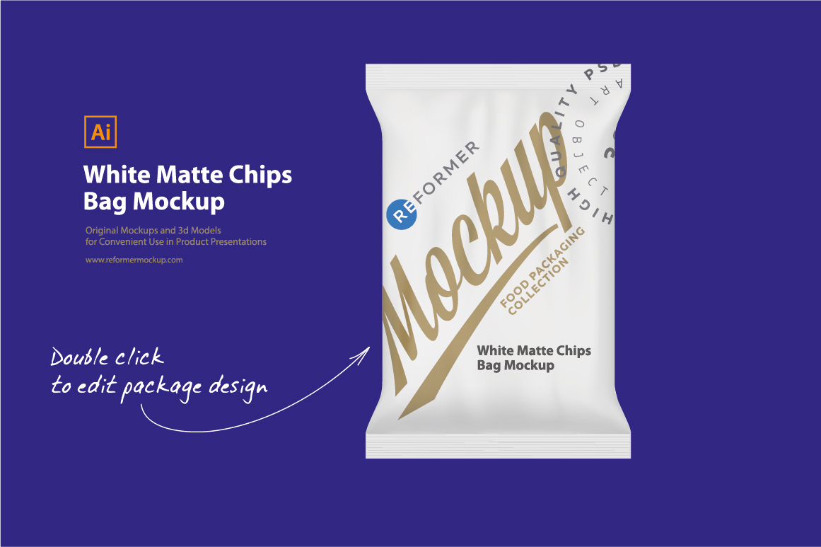 White Matte Chips Bag Mockup example image 2