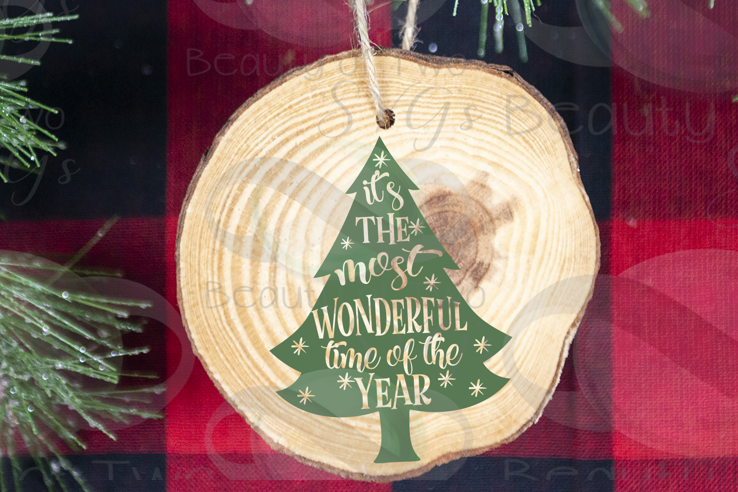 Christmas Ornament svg, Most wonderful time of year tree svg example image 2
