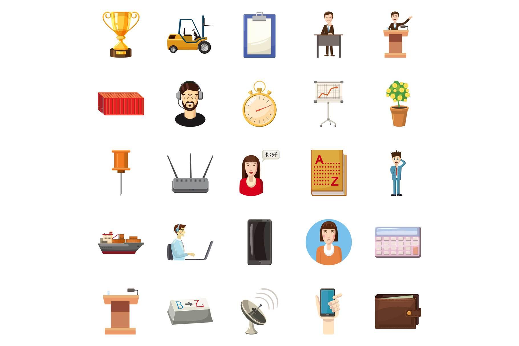 Fat cat icons set, cartoon style example image 1