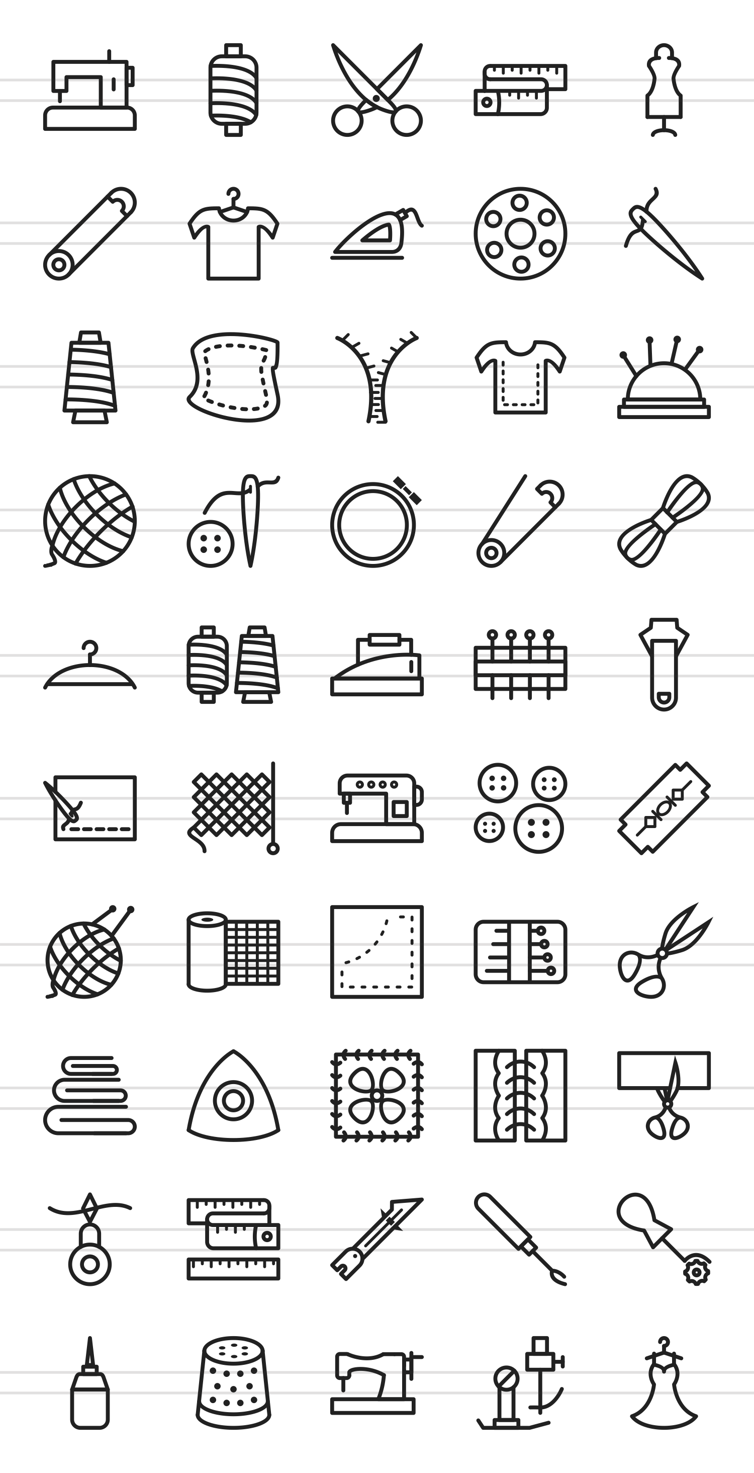 50 Sewing Line Icons example image 2