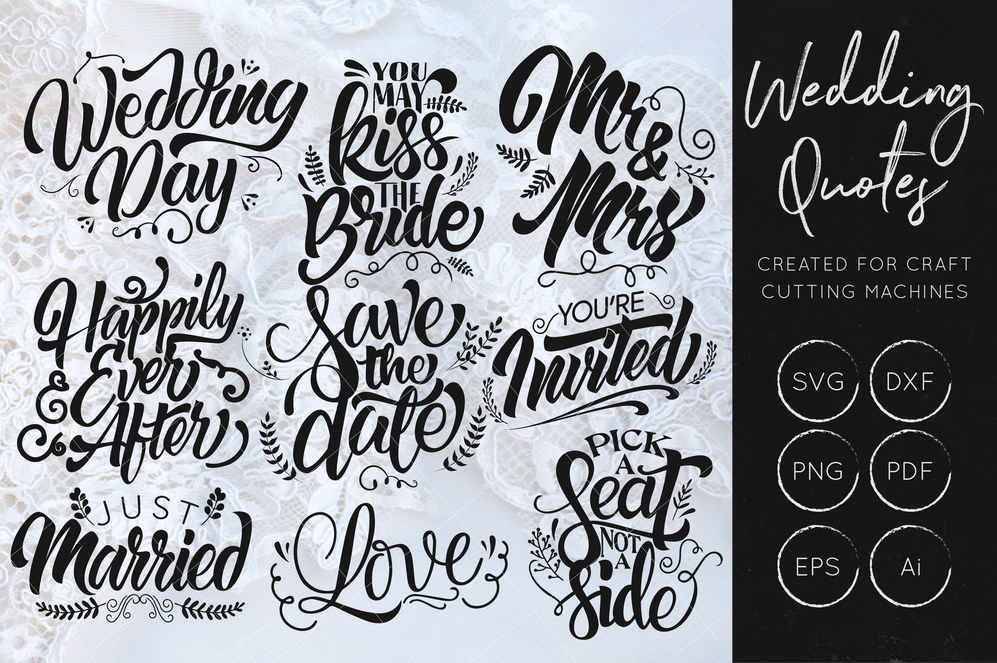 Wedding SVG Cut Files Bundle - Wedding Quotes - Wedding SVG example image 1