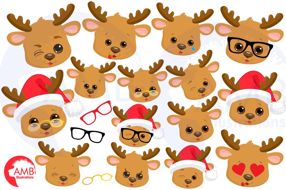 Reindeer clipart, reindeer emojis, emoticons,AMB-2696 example image 3
