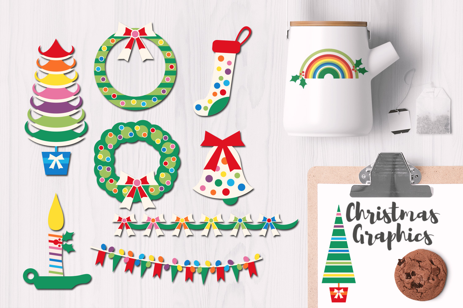 Christmas Rainbow Colors Illustrations example image 1