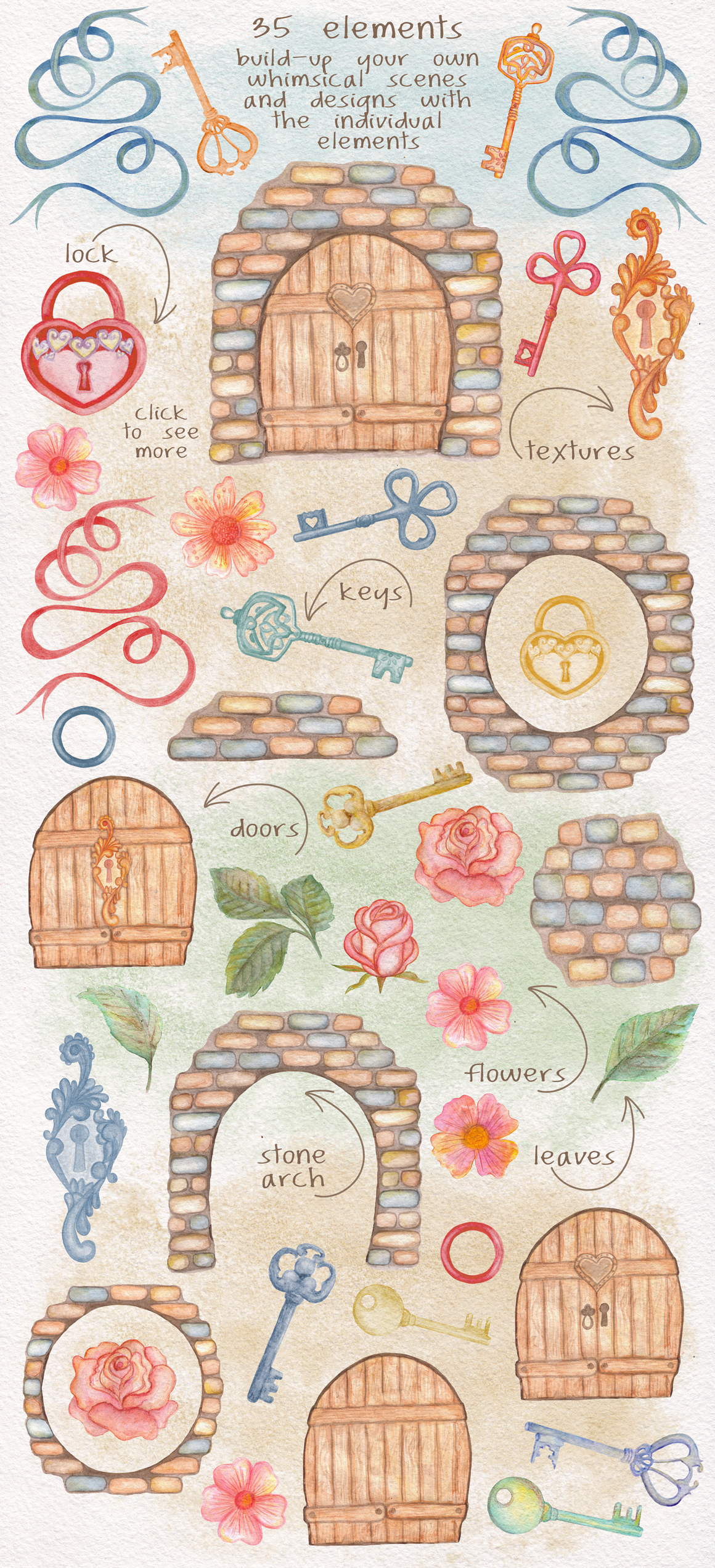 Home Sweet Home. Keys, floral watercolor wonderland collection example image 3