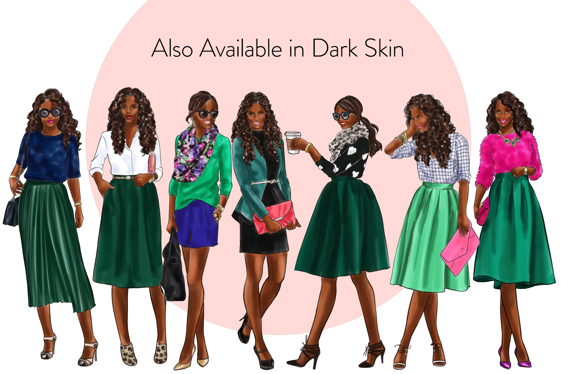 Fashion illustration clipart - Girls in Green 2 - Light Skin example image 4