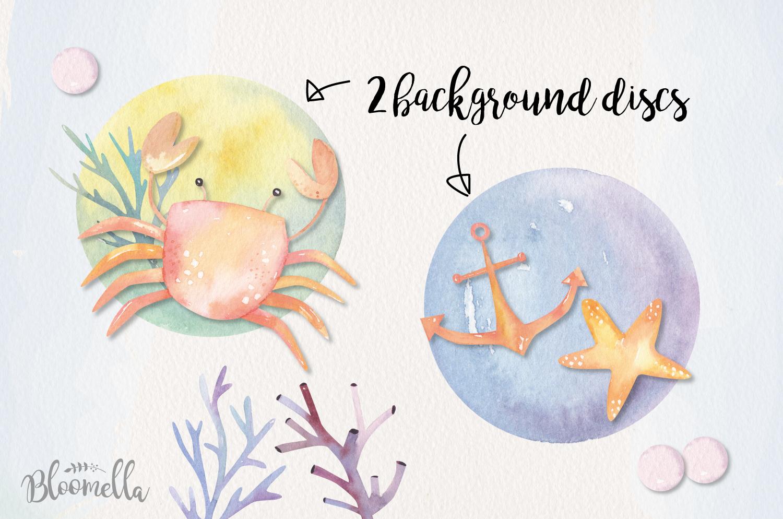 Sea Life Watercolor 14 Elements Ocean Cute Crabs Shell Pearl example image 4