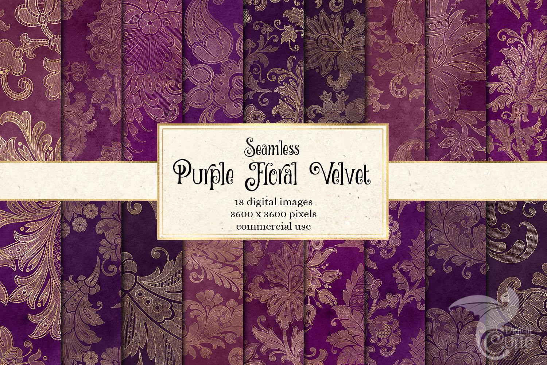 Purple Floral Velvet Digital Paper example image 1