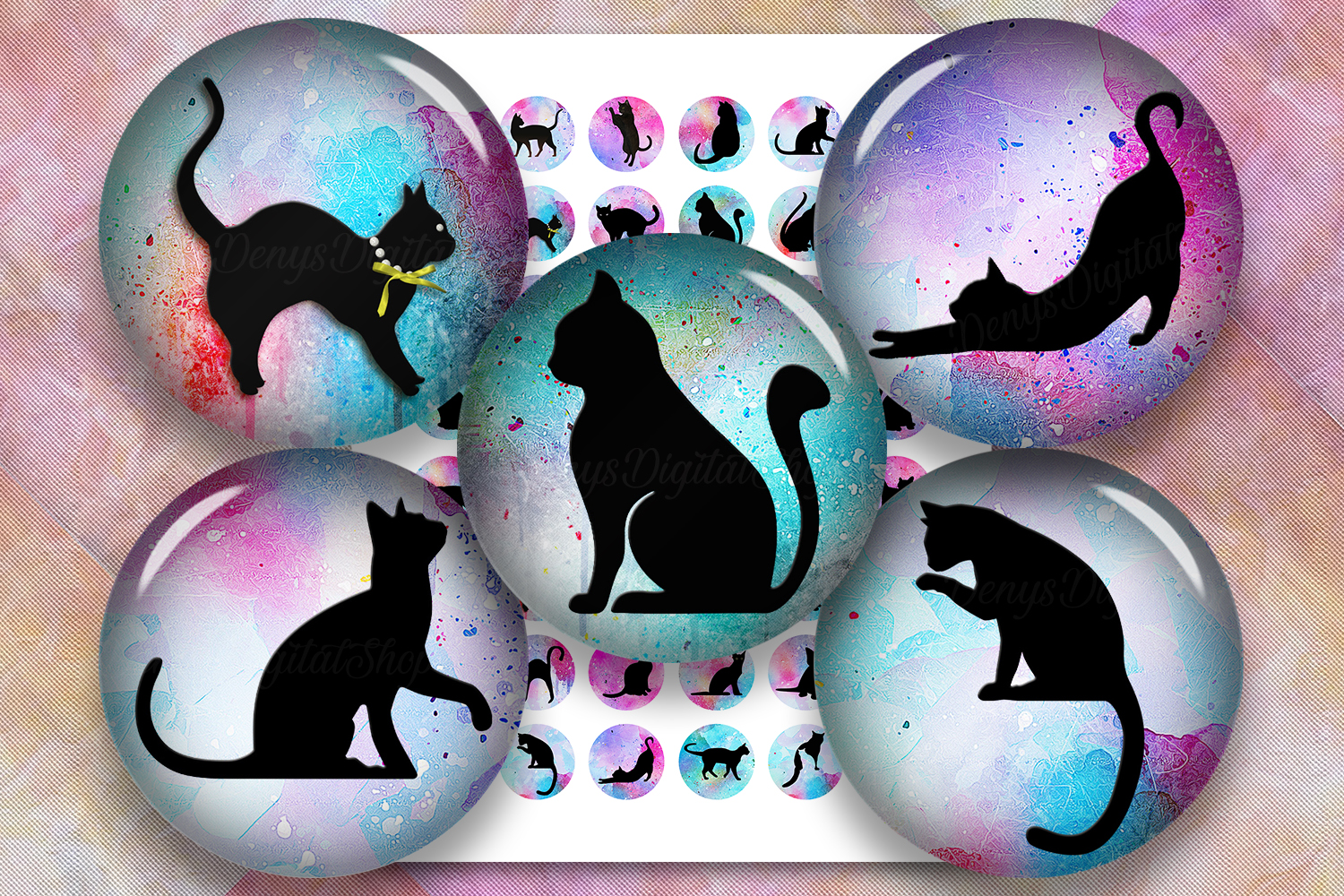 Cat Silhouette,Image Digital Cabochon,Cats Printable Images example image 1