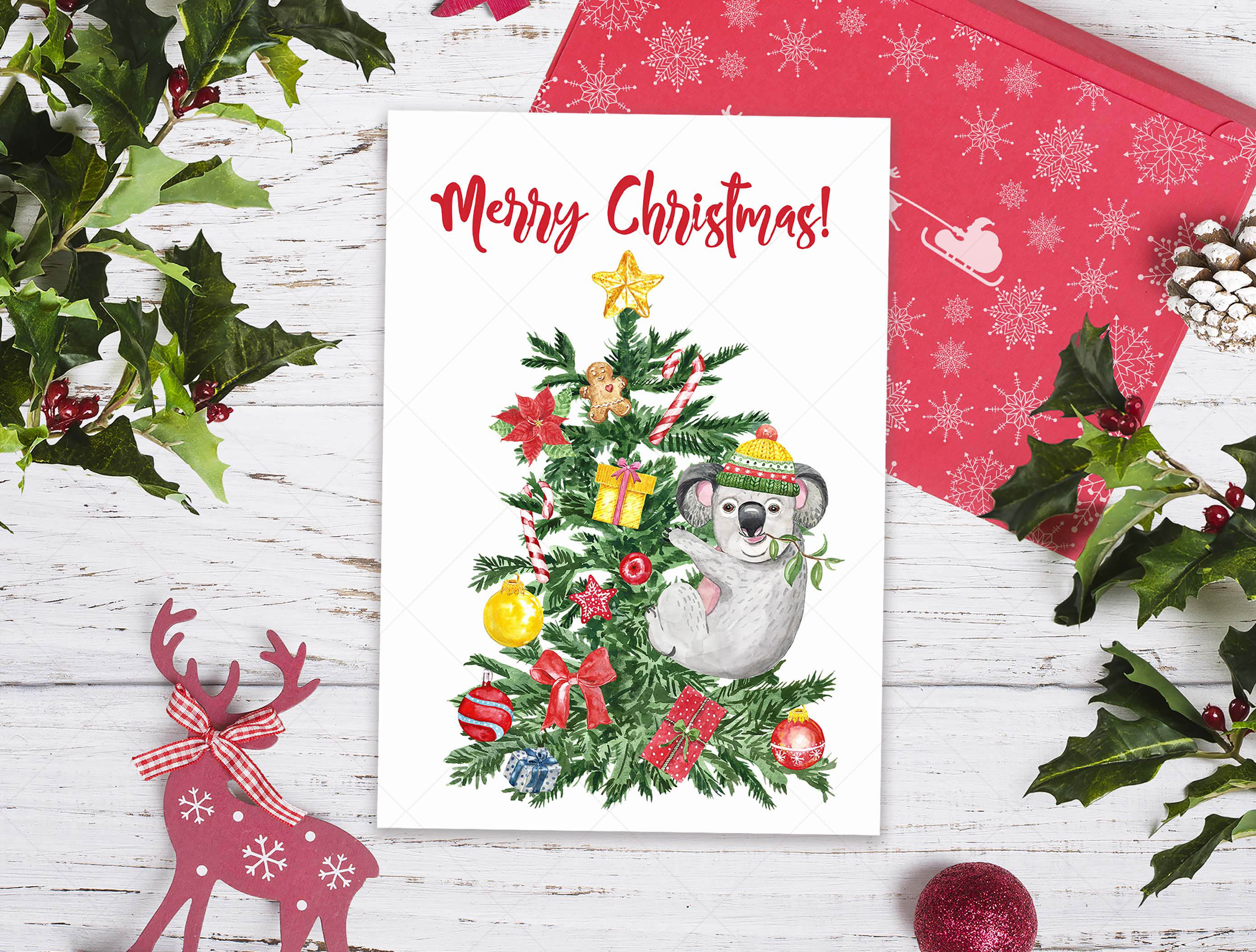 Watercolor Christmas Card Clip Art Holiday Card Set template example image 10