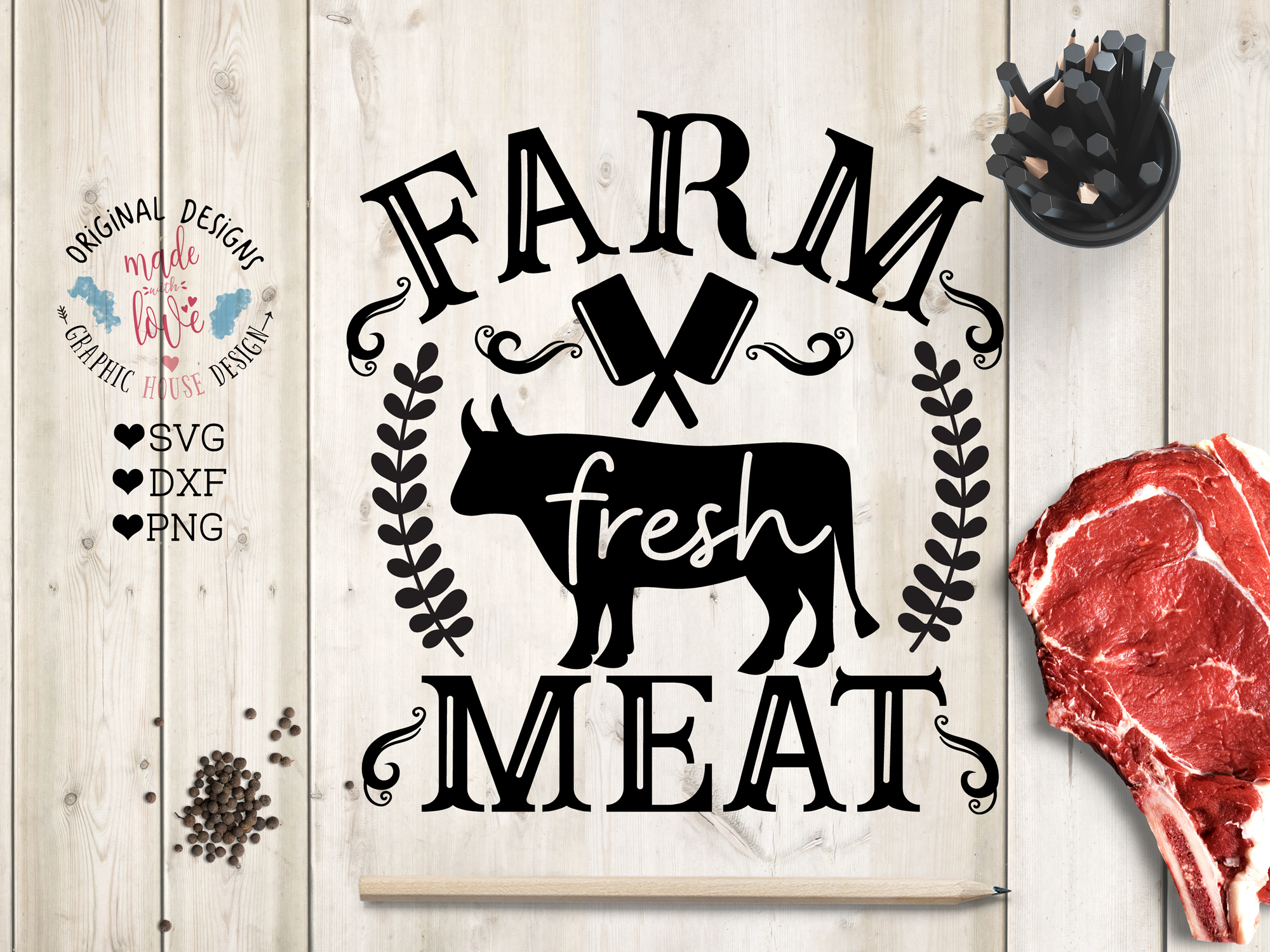Farm Fresh Meat Cut File and Printable