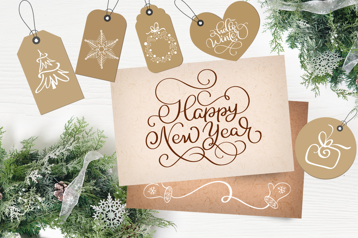 Merry Christmas Quotes and Objects Calligraphy Collection example image 9