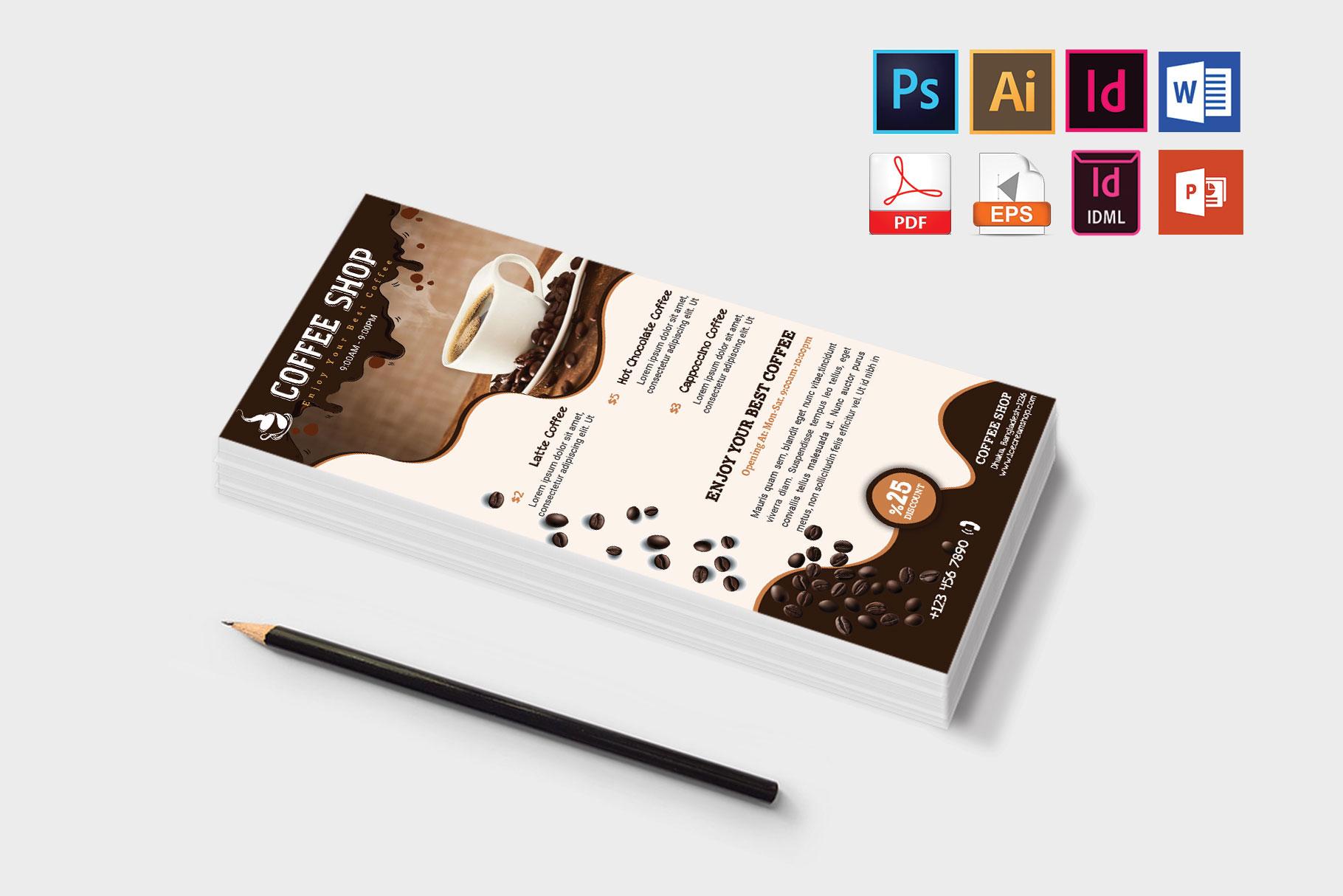 Rack Card   Coffee Shop DL Flyer Vol-02 example image 3