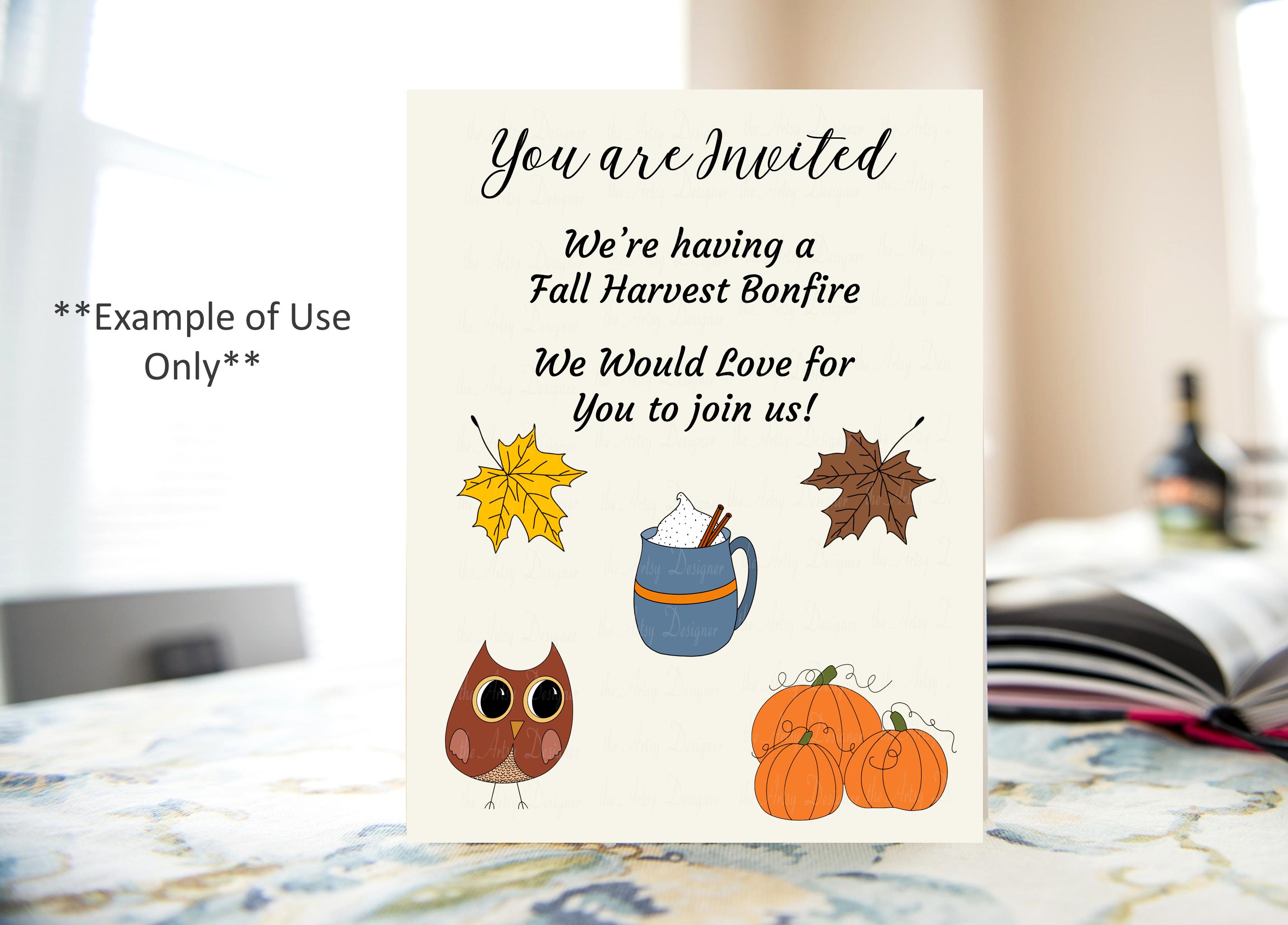 Fall ClipArt Bundle Sublimation Owls Leaves Pumpkins Pie Mug example image 2