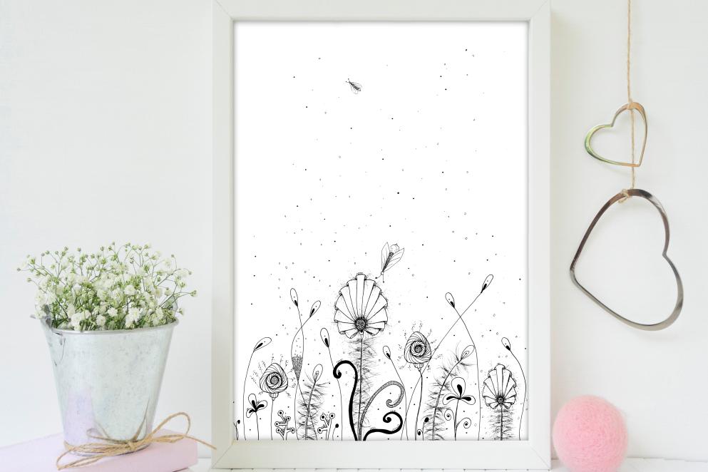 Floral Doodle Art, A1, SVG example image 4
