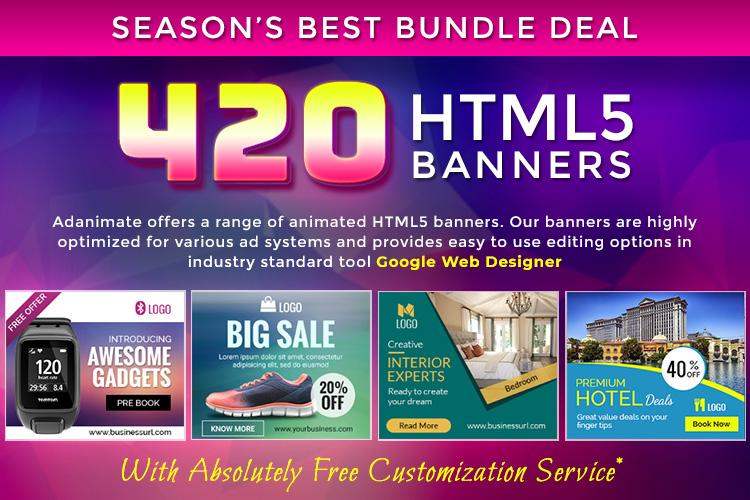 Premium Banner Bundle 420 Animated Html5 Banner Templates 172981 Websites Design Bundles