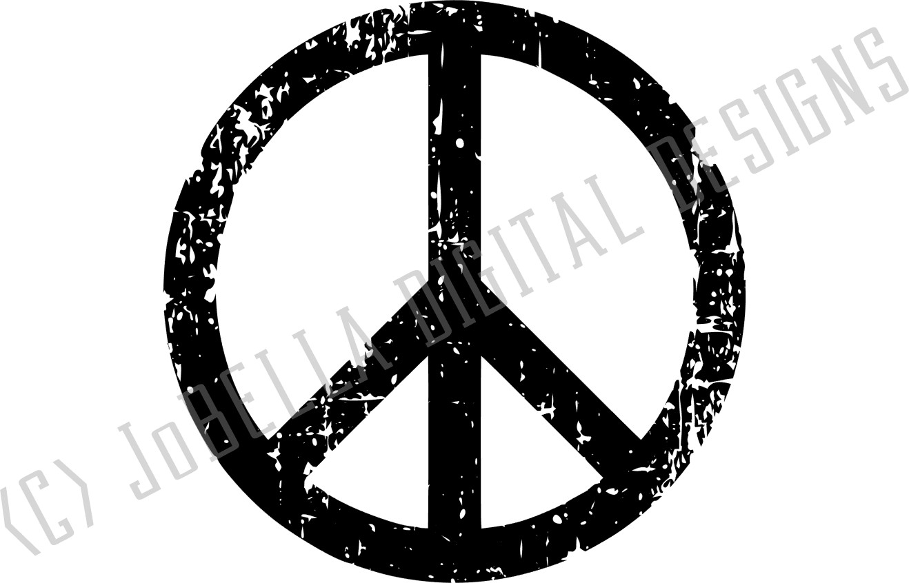 Distressed Peace Sign SVG, Sublimation PNG and Printable example image 3