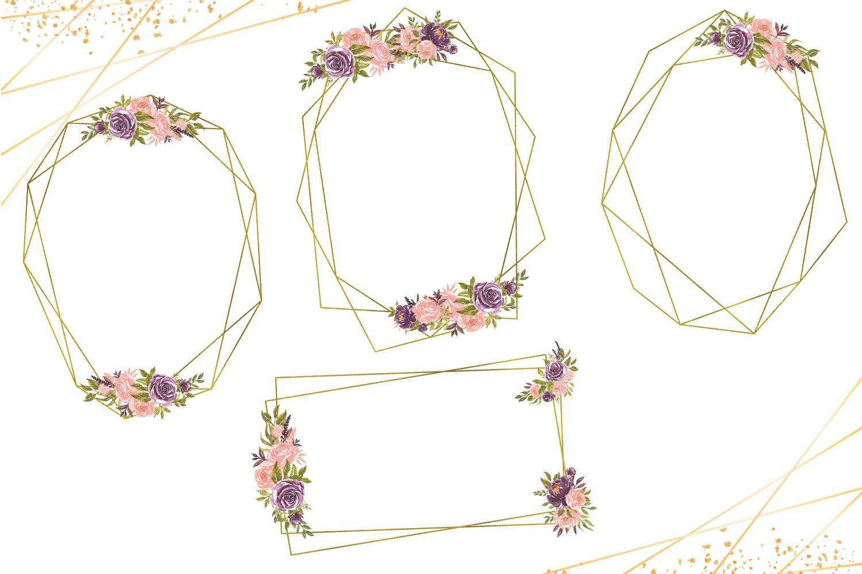 Geometric Gold Frames, Floral Crystal Frames, Pink Frames example image 5