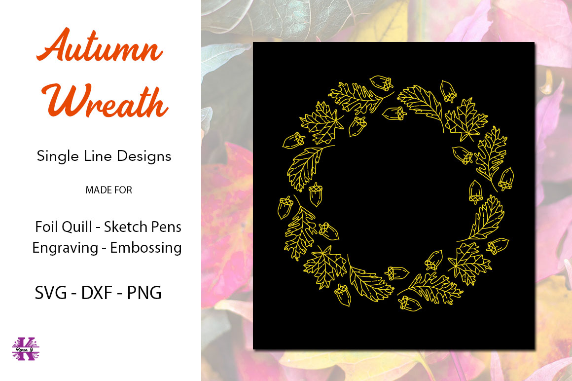 Autumn Wreath for Foil Quill|Single Line Design example image 1