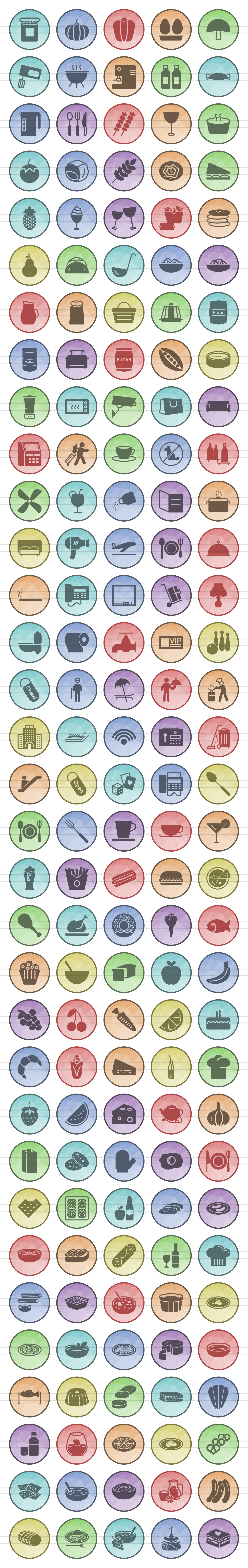 166 Restaurant & Food Filled Low Poly Icons example image 2