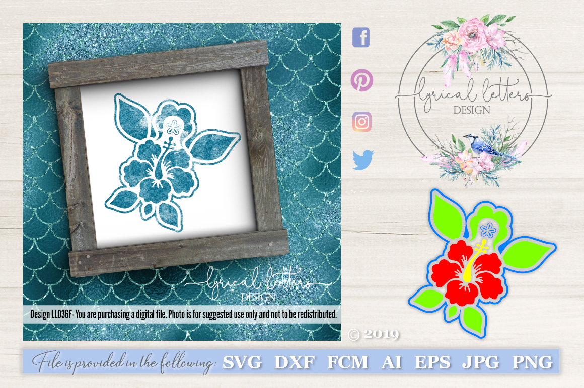 Hibiscus Sea Turtle Art LL036F SVG DXF FCM EPS AI JPG PNG example image 1