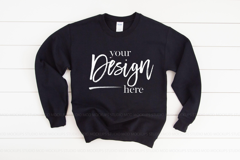 Gildan 18000 Mockup   Sweatshirt Mockup BLACK example image 2