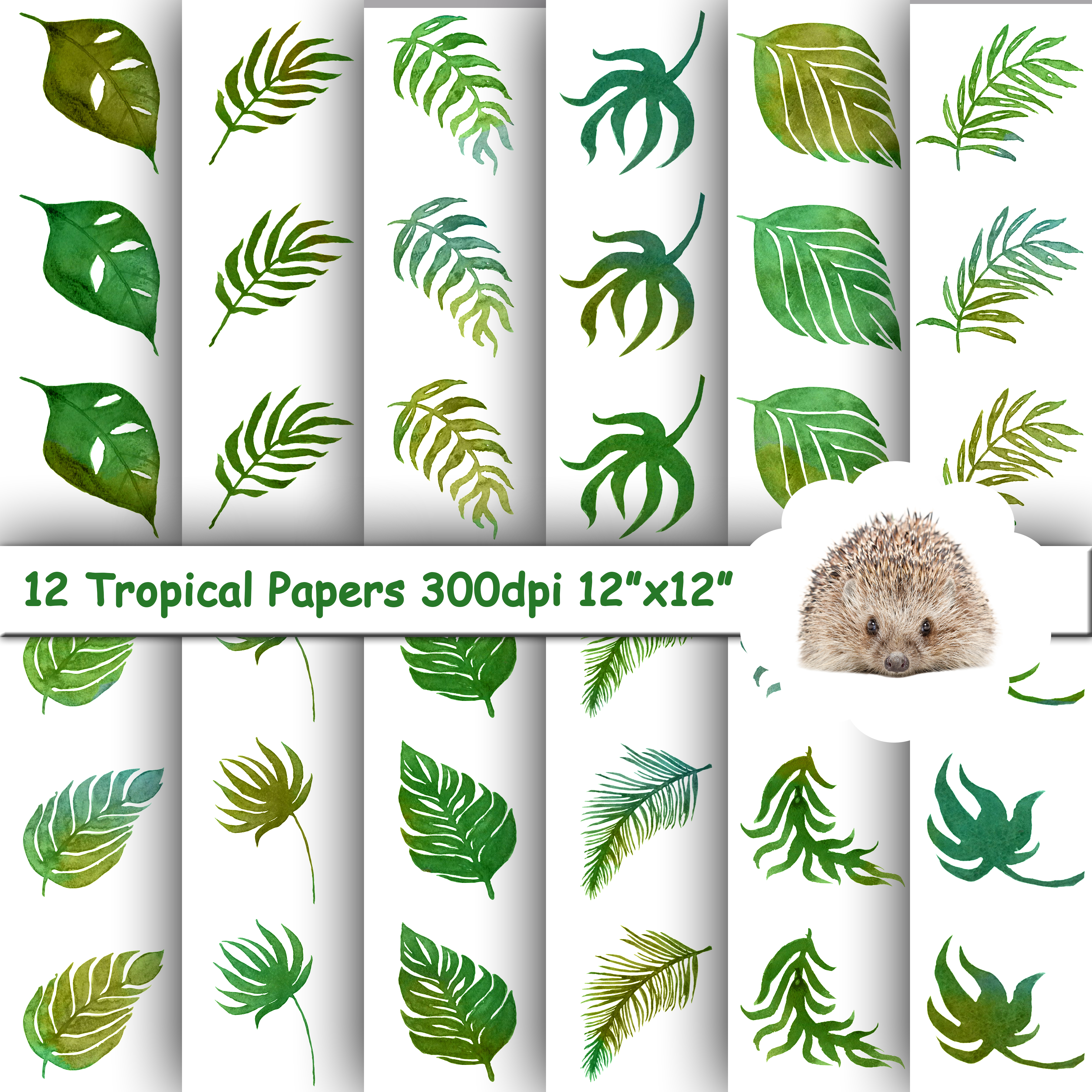 12 Digital Papers, Tropical Leaves Seamless Patterns, Backgrounds example image 1