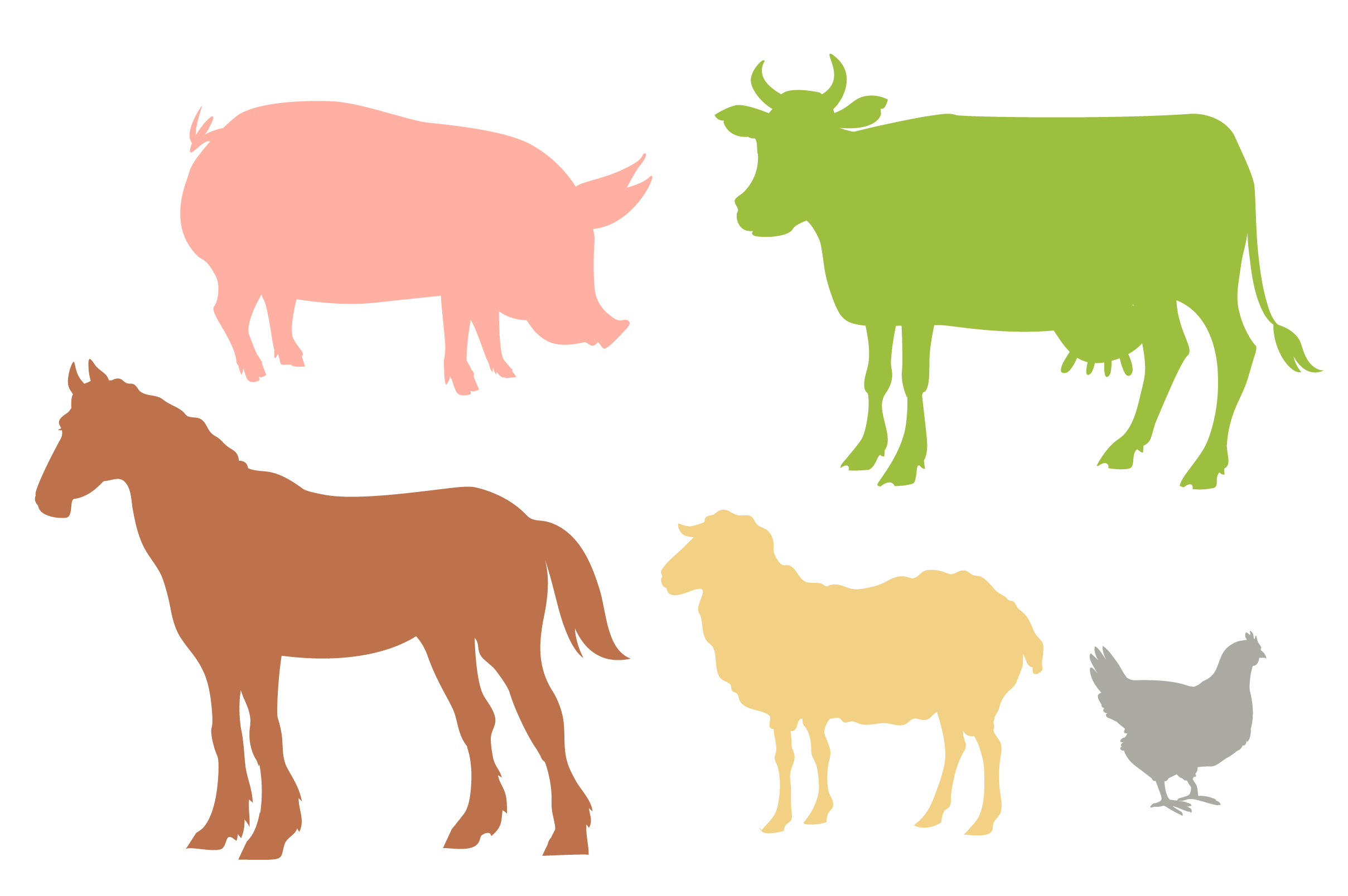 Vector Farm set of animals and landscapes + bonus patterns example image 4