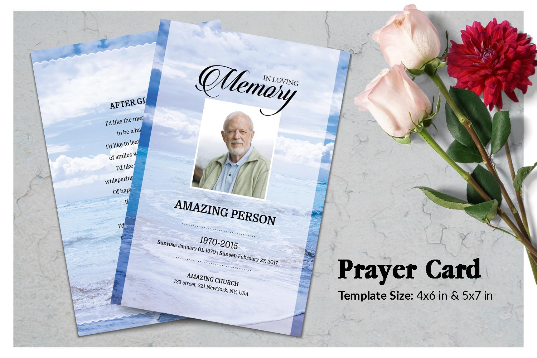 Sea Beach Funeral Prayer Card Template example image 1