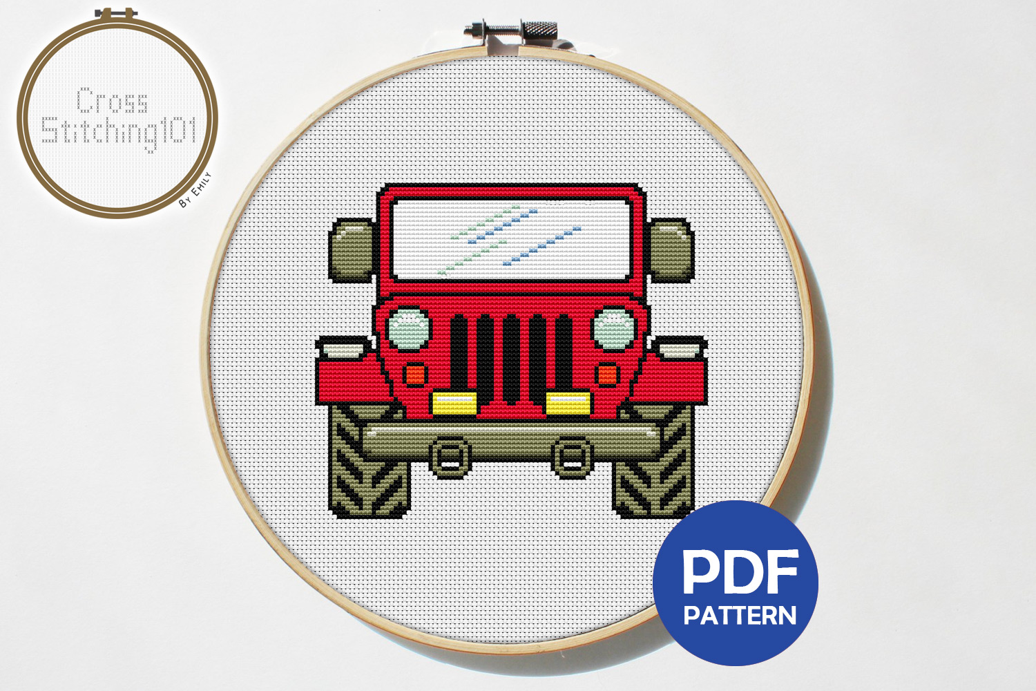 Jeep 4x4 Cross Stitch Pattern - Instant Download PDF example image 1