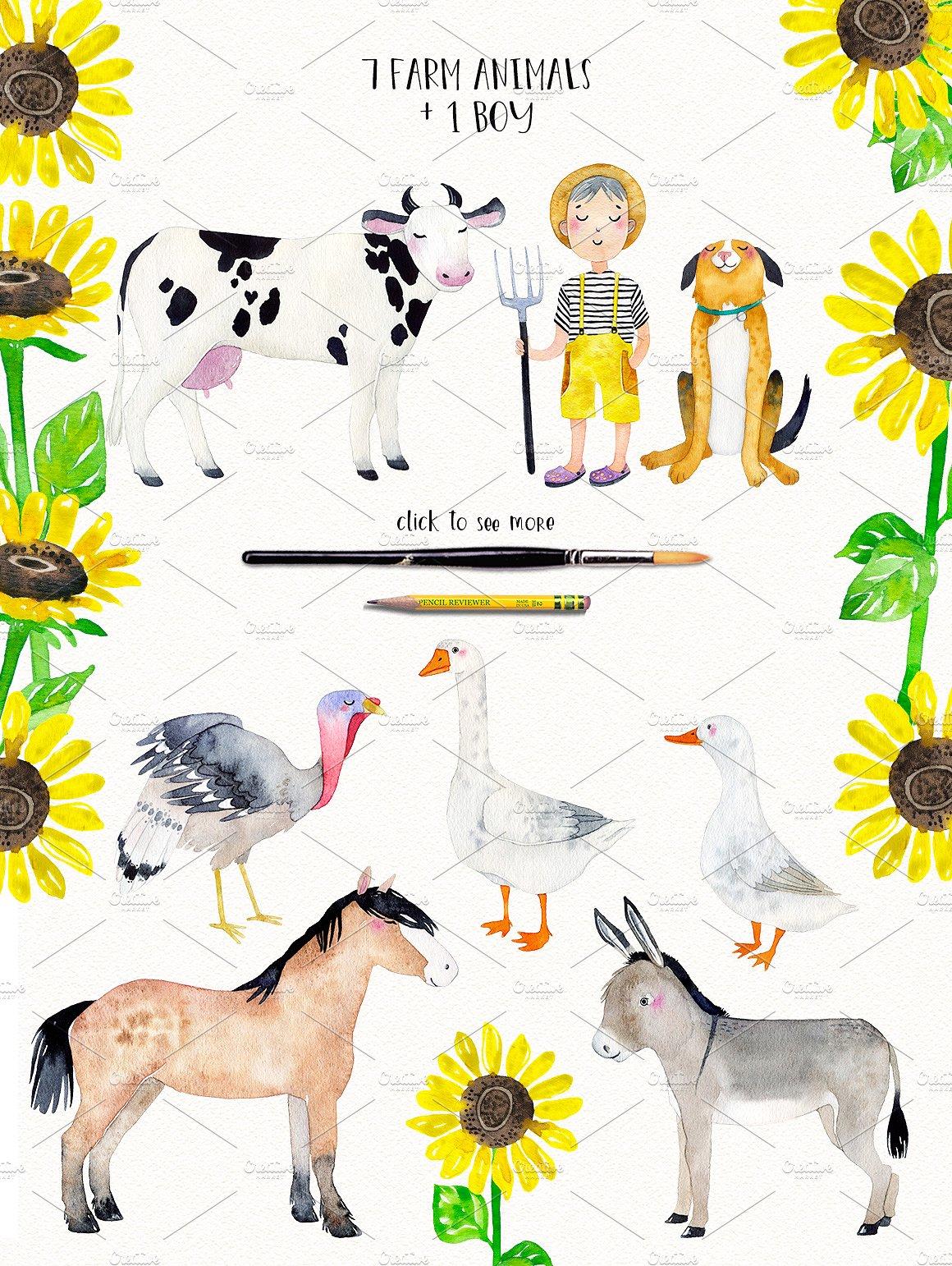 FARM ANIMALS watercolor set PART 2 example image 7