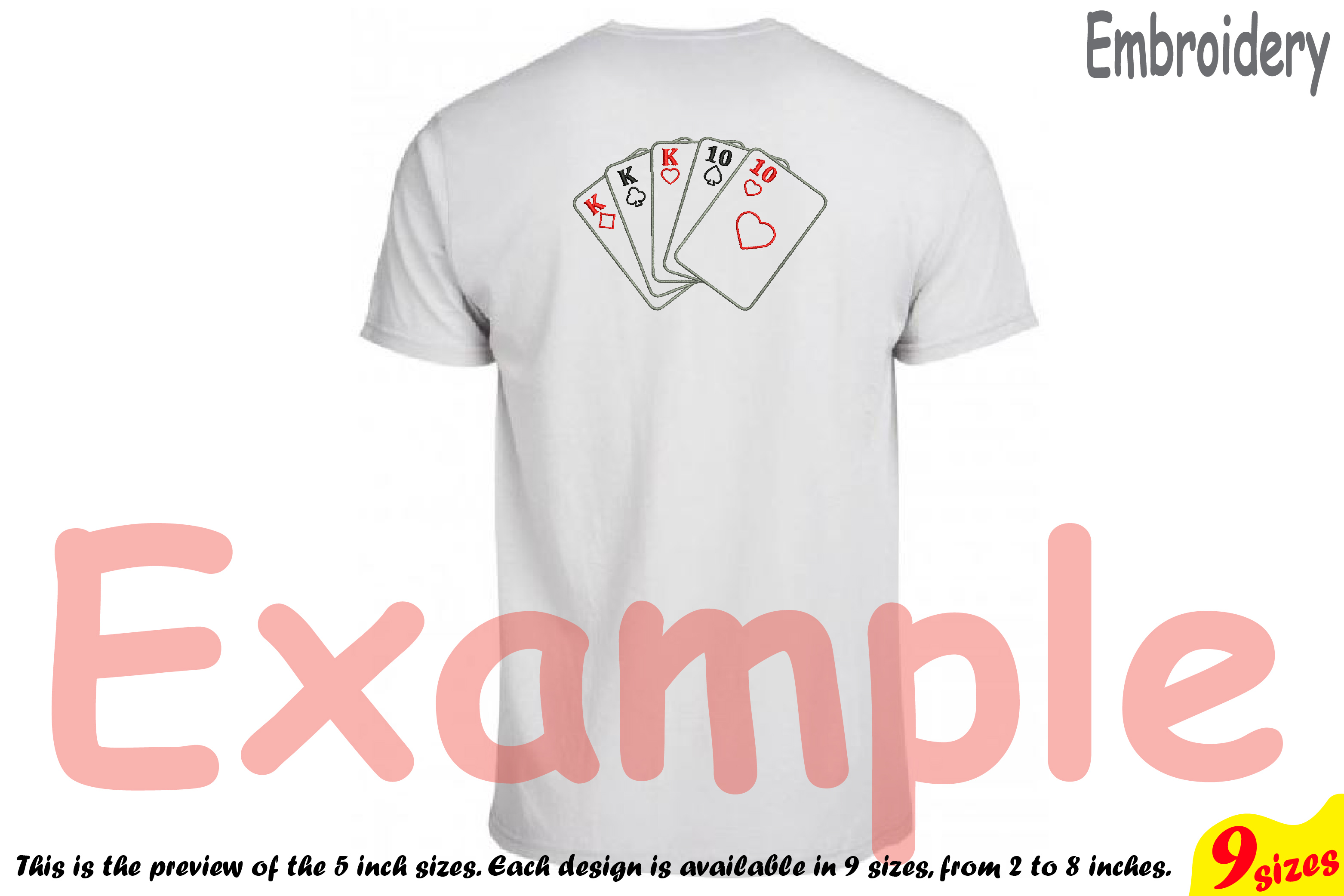 Poker Full House Designs for Embroidery Machine Instant Download Commercial Use digital file 4x4 5x7 hoop symbol sign casino las vegas 200b example image 2