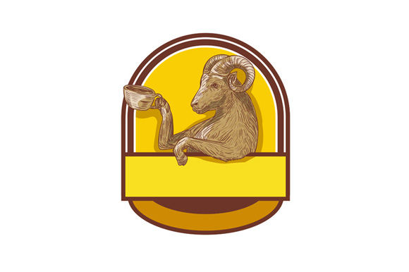 Ram Goat Drinking Coffee Crest Drawing example image 1