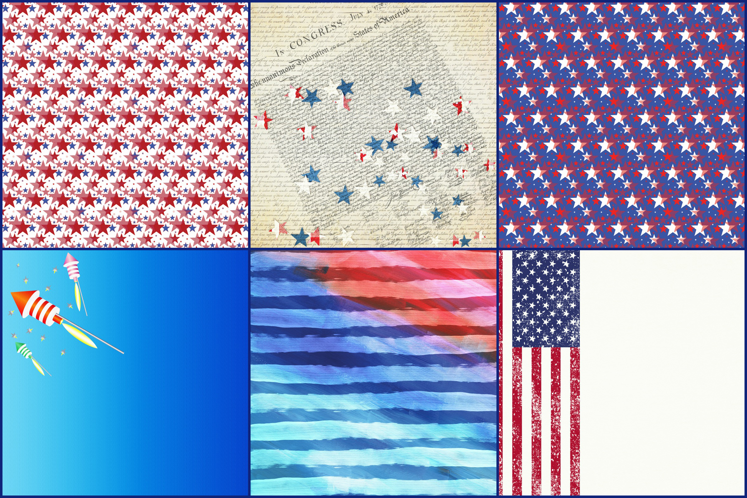 USA, 4th of July Patriotic Digital Papers example image 3
