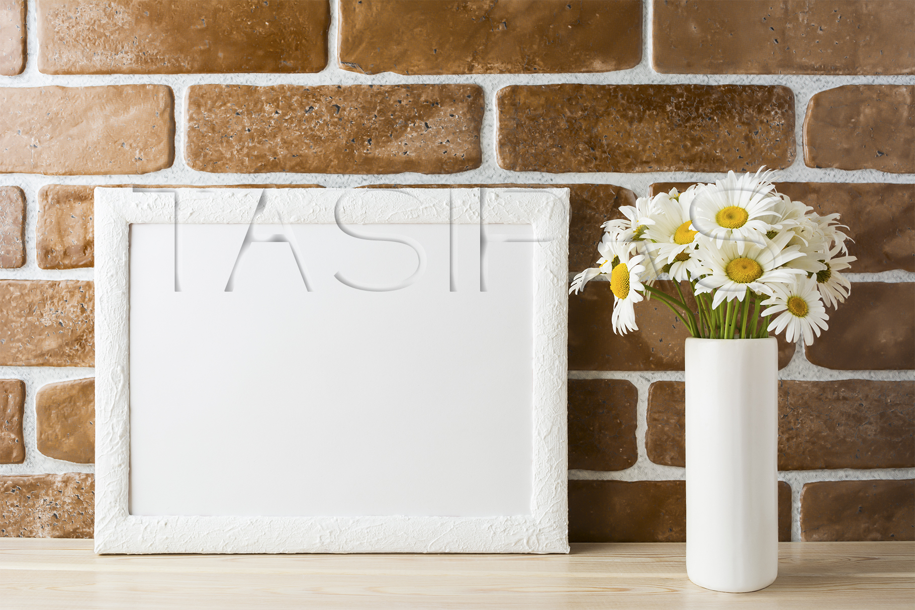 White landscape frame mockup with daisy bouquet in styled vase  example image 2