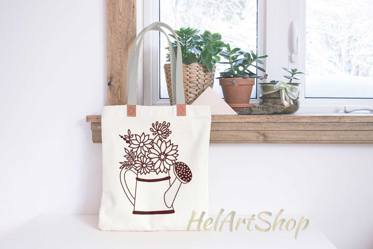 watering can with flowers example image 2