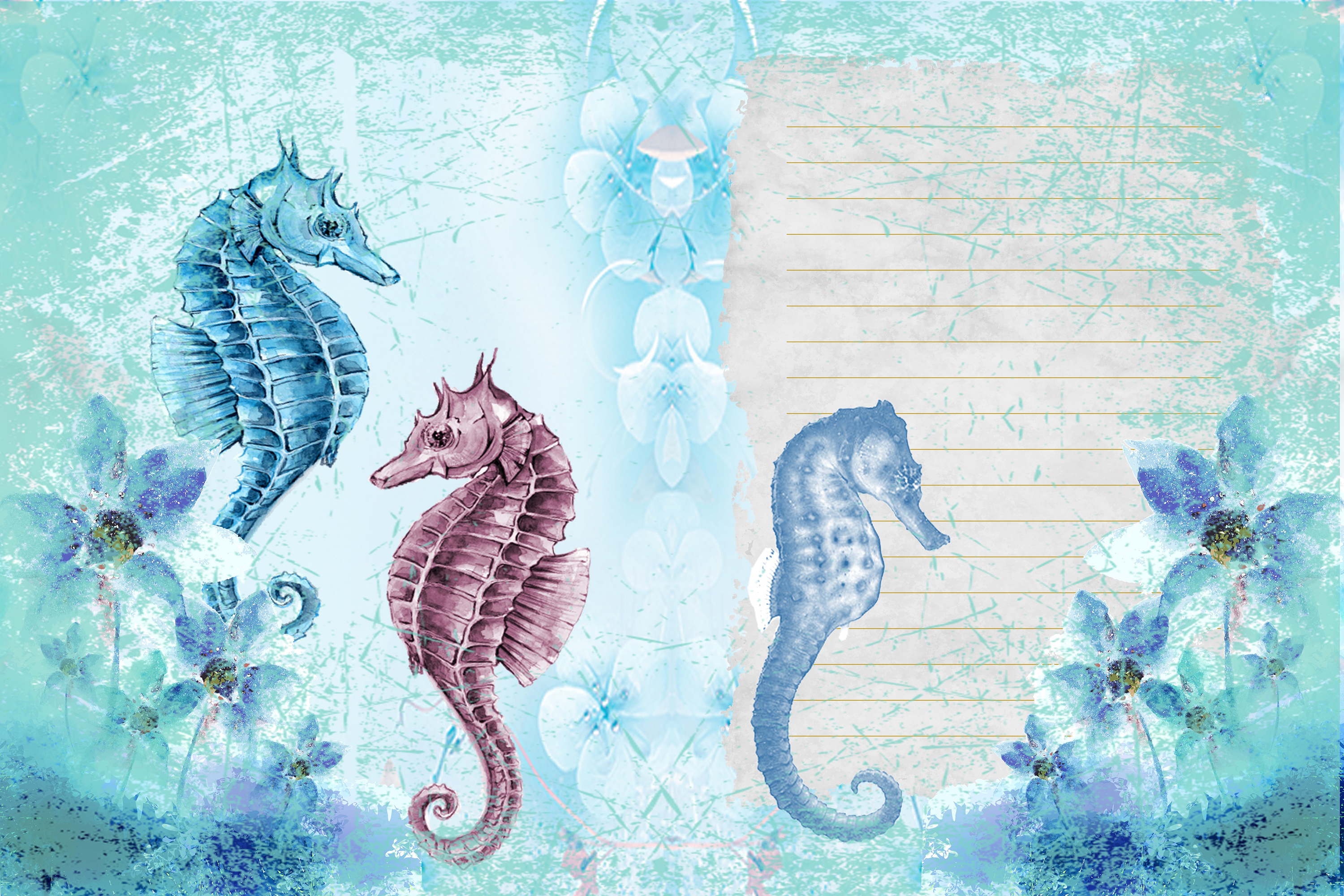 Seahorses Journaling pages FREE Clipart and Ephemera example image 5