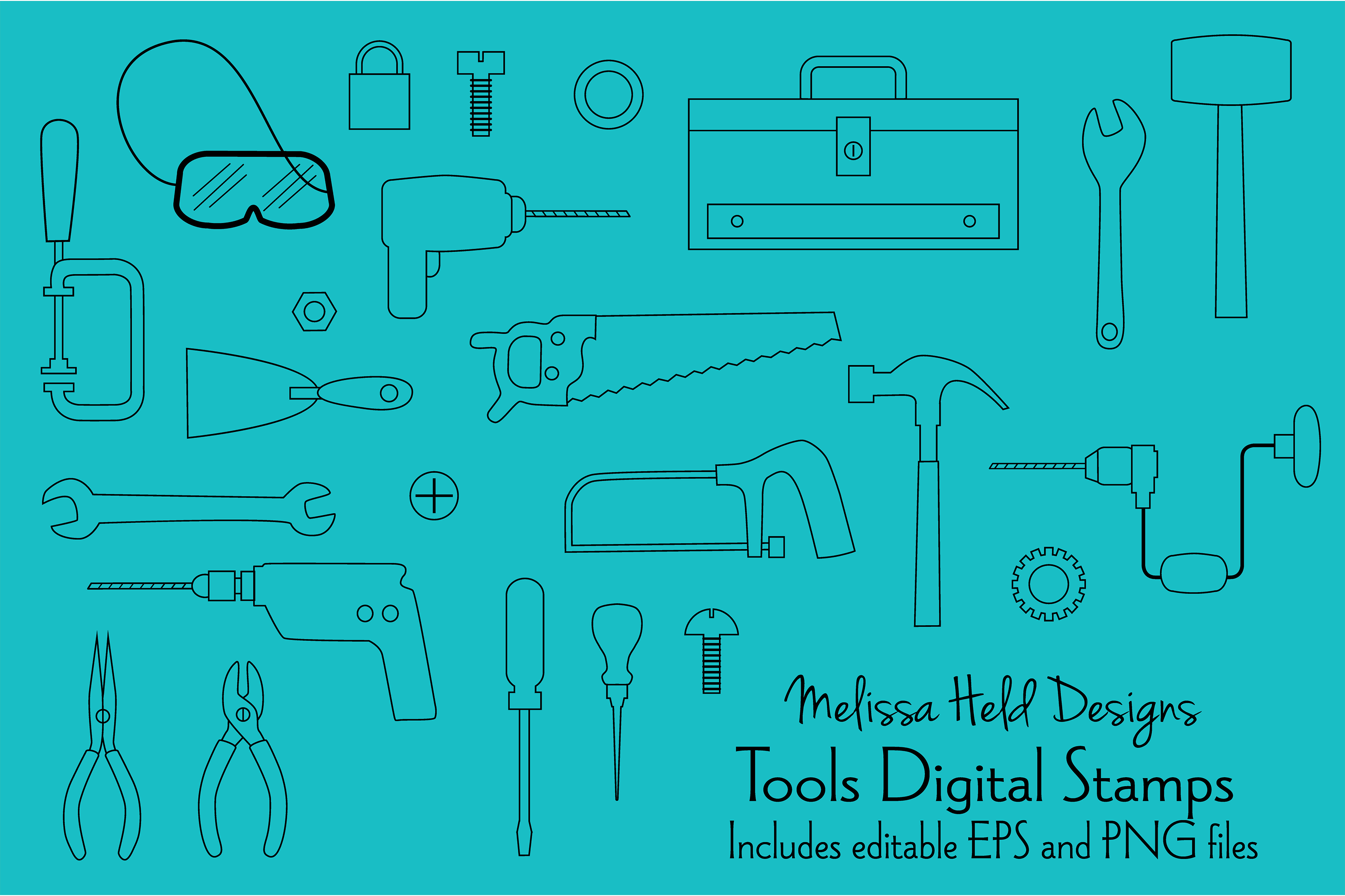 Tools Digital Stamps Clipart example image 1