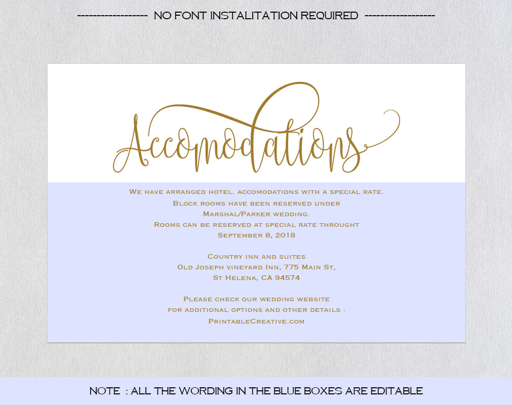 Wedding Information Card example image 3