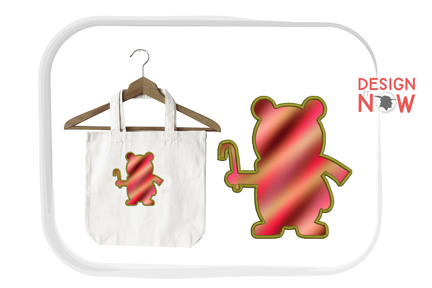 Holiday Bear Applique Design, Christmas Embroidery Pattern example image 2