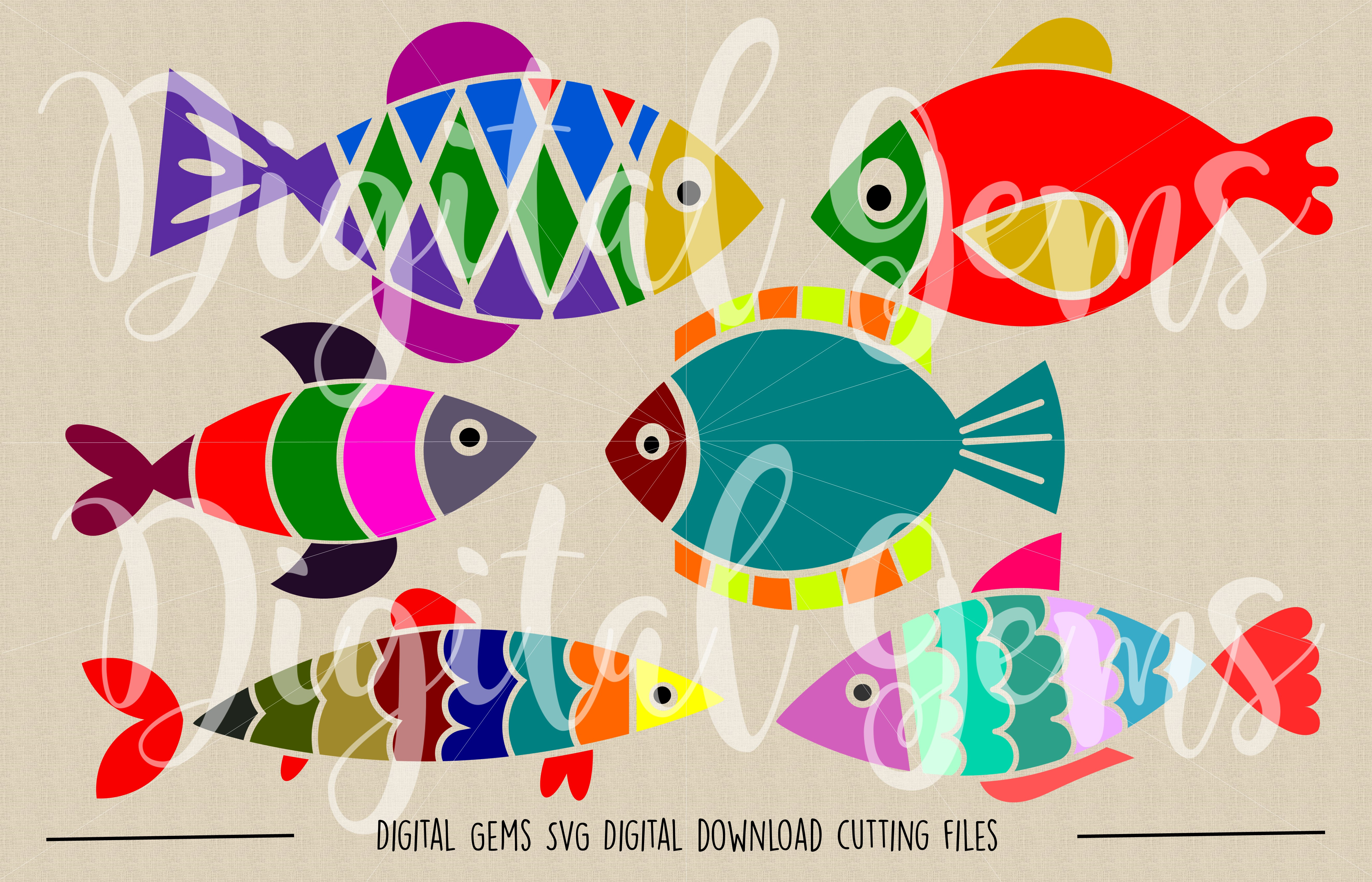 Fish SVG / PNG / EPS / DXF files example image 2