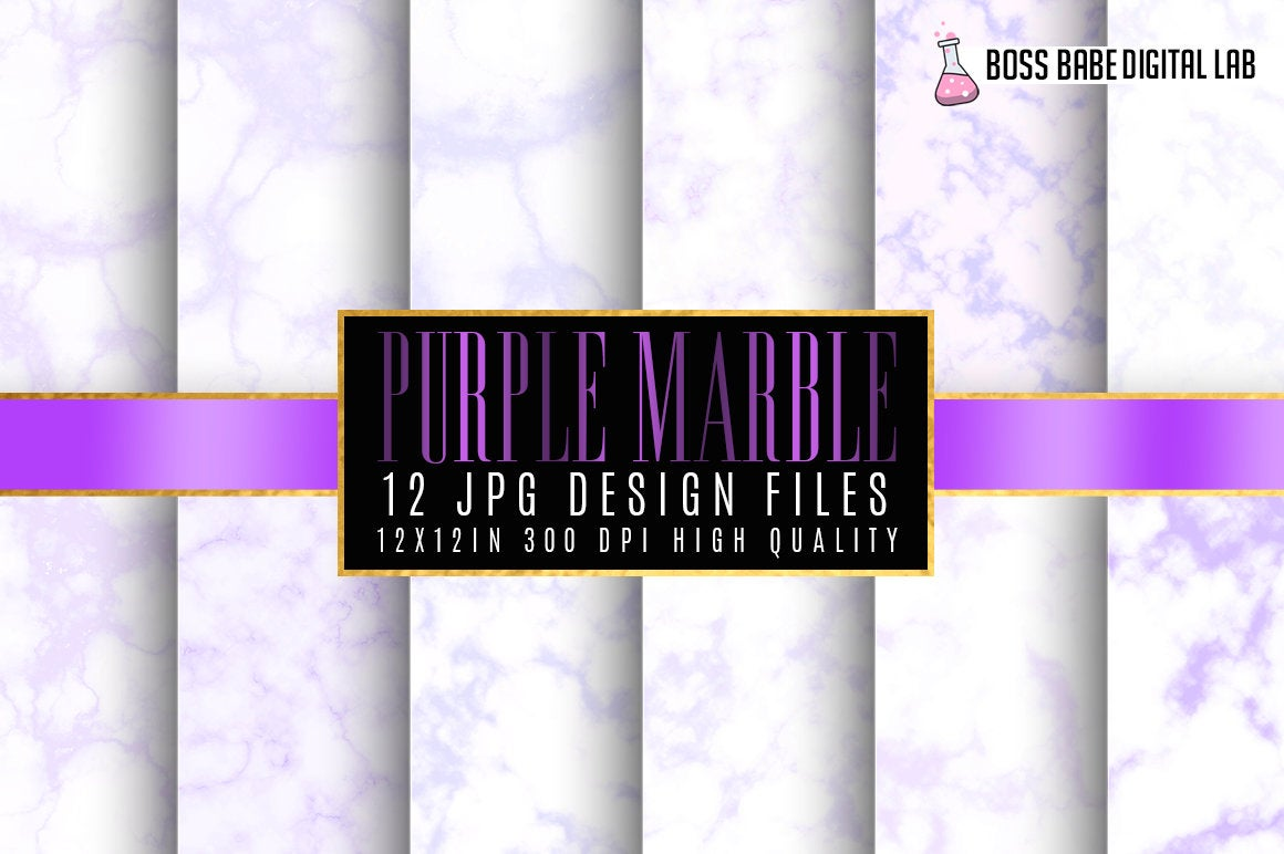 Purple Marble Digital Papers example image 1