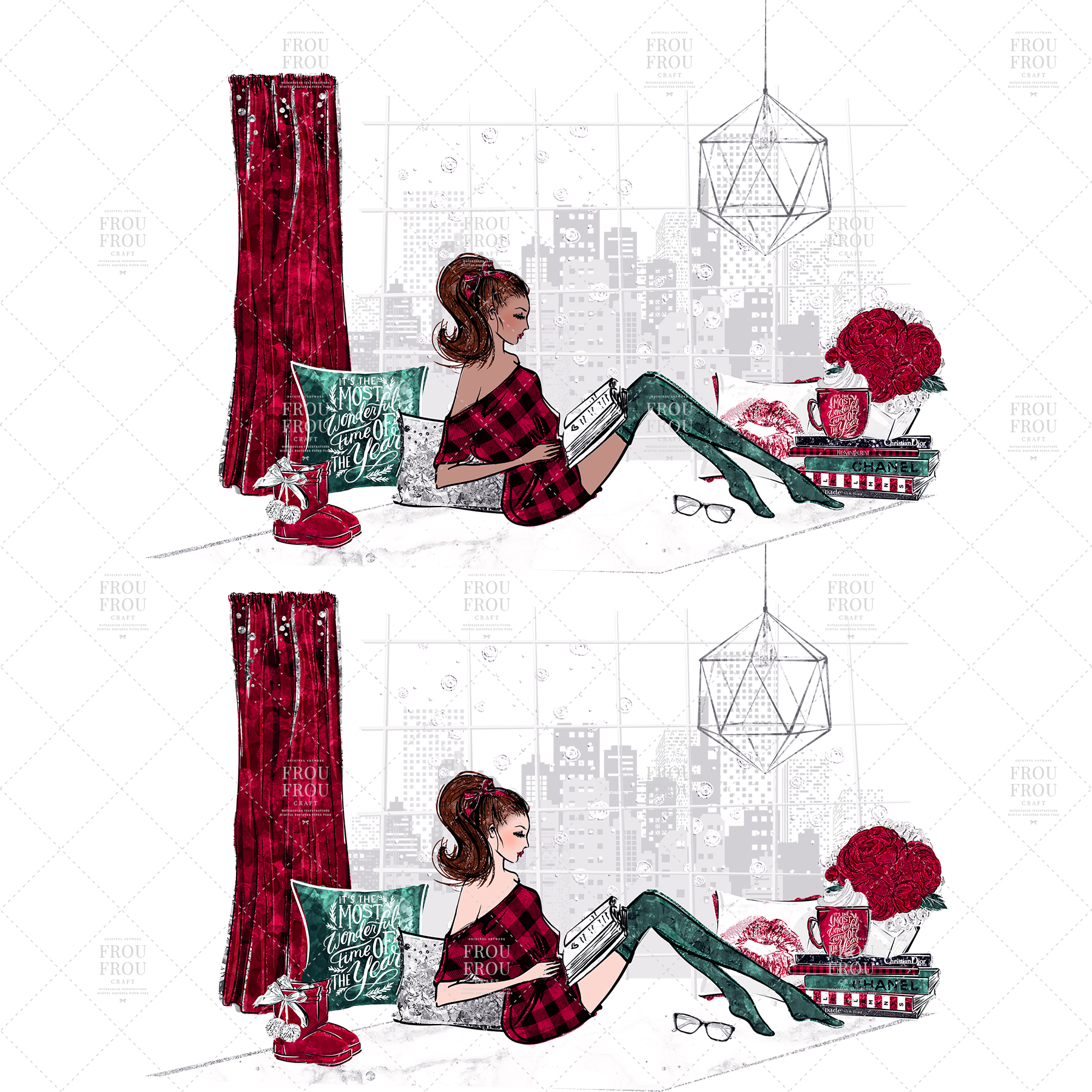 Cozy Winter Holiday Girl Reading Books Clip Art example image 8